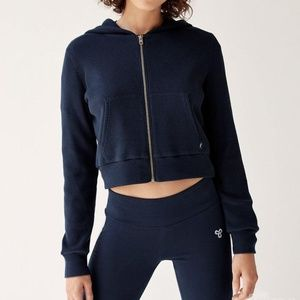 Aritzia Tna Thermal Zip Cropped Waffle-knit Hoodie